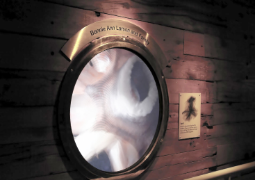 The architects created special portholes that make you feel as if you are under water. To recognize donors we designed, fabricated and installed custom brass plaques that wrapped around the portholes.