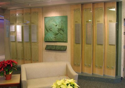 Glass Donor Wall With Bronze Plaque For Memorial of Major Contributor