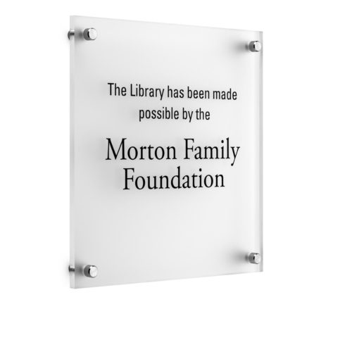 Acrylic Donor Plaque with Standoffs - This plaque is affordable and can be ADA compliant. Donor names are printed directly onto the acrylic and silver stand offs attach the plaque to the wall.