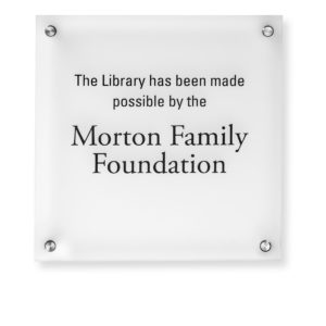 Donor Recognition Plaques - Printed Text - This plaque is affordable and can be ADA compliant. Donor names are printed directly onto the acrylic and silver stand offs attach the plaque to the wall.