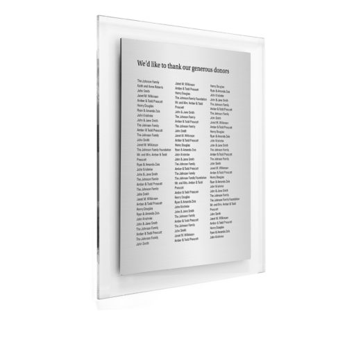 Donor Wall Plaques - Economic Acrylic Donor Wall - 100 Etched Donor Names