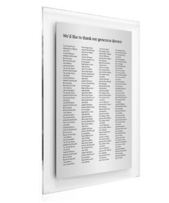 Donor Wall Plaques - Acrylic Donor Wall - 200 Donor Names
