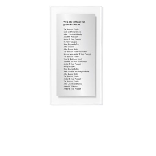 Donor Wall Plaques - Acrylic Donor Wall - 25 Names
