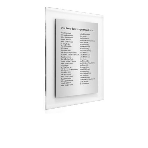 Donor Wall Plaques - Acrylic Donor Wall - Holds 50 Donor Names - Thank Your Donors by recognizing their philanthropy efforts by putting their name on a sophisticated donor wall. Fersk Acryl Donor wall combines acrylic and metal to properly recognize donors.