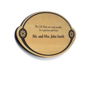Brass Donor Plaque With Etched Donor Names