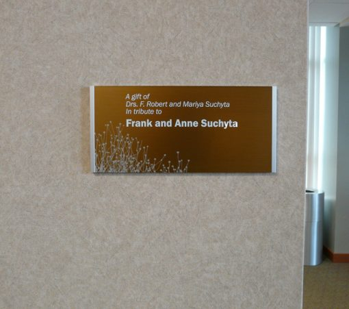 Modular Donor Walls - Brasstone Donor Plaque with printed graphics and donor names. These plaques can be ADA complaint and are multi-use with room signs.