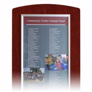 donor recognition walls - Mahogany Changeable Donor Wall - This donor recognition wall option is economical an the best solution for donor campaigns that need to be updated annually.