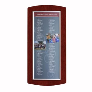 Easy Frame Donor Wall - Mahogany - The Easy Frame Donor Wall can be customized to your organizations brand and donor names can be added easily and economically.