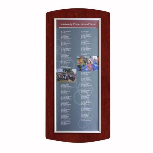 Donor Boards - Easy Frame Donor Wall - Mahogany - The Easy Frame Donor Wall can be customized to your organizations brand and donor names can be added easily and economically.