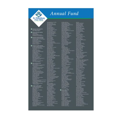 Updatable Donor Wall Insert -Every insert for our Easy Frame Donor Wall is customized to your organizations brand and needs. This donor recognition option is economical an the best solution for donor campaigns that need to be updated annually.