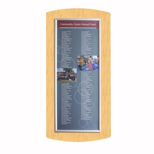 Donor Boards - Maple Wood Donor Wall - Easy To Update Annually - The Easy Frame Donor Wall can be customized to your organizations brand and donor names can be added easily and economically.