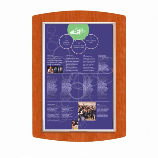 Easy Frame Donor Wall - Cherry Wood -The Easy Frame Donor Wall can be customized to your organizations brand and donor names can be added easily and economically.