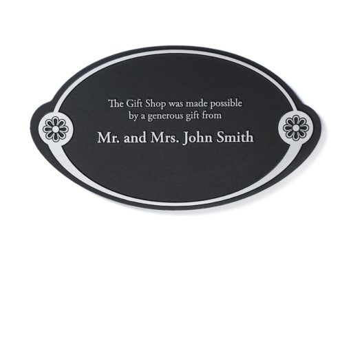 Memorial Plaque - Black and Silver Etched Donor Plaque - Thank your donor by etching their name in to a beautiful plaque. Great for theatre, museums and other foundations looking to recognize their donors.