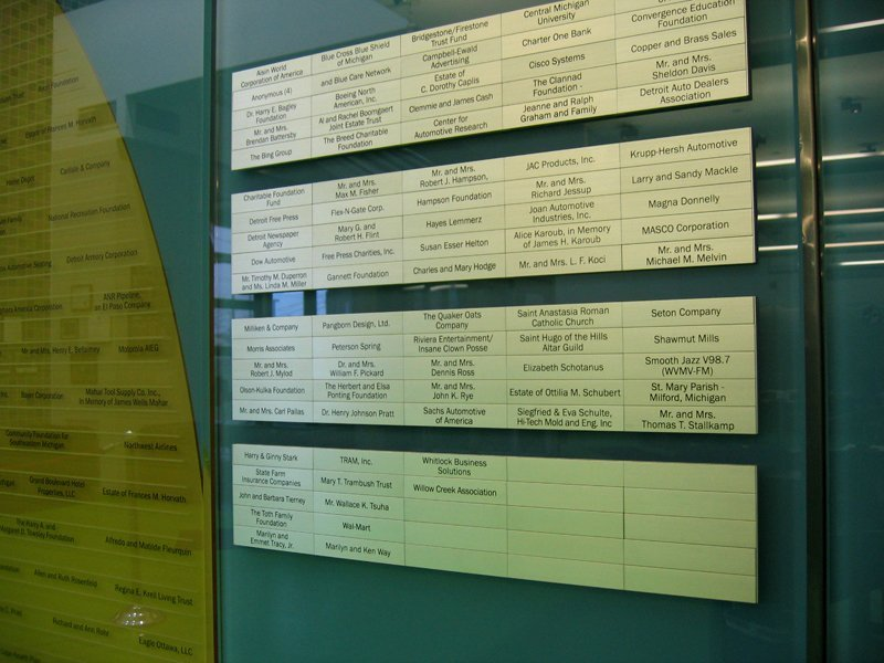 Donor Recognition Levels - Focus Hope Modular Donor Wall - hangeable aluminum donor name plates: Donor names in the three lowest giving levels are printed on moveable aluminum name plates allowing them to be easily moved up to the next level.