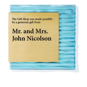 Blue Donor Plaque - Wave - Blue textured plaque gives a fresh and quality look to your donor plaque. The text is etched into brass and is a sophisticated way to thank your donor.