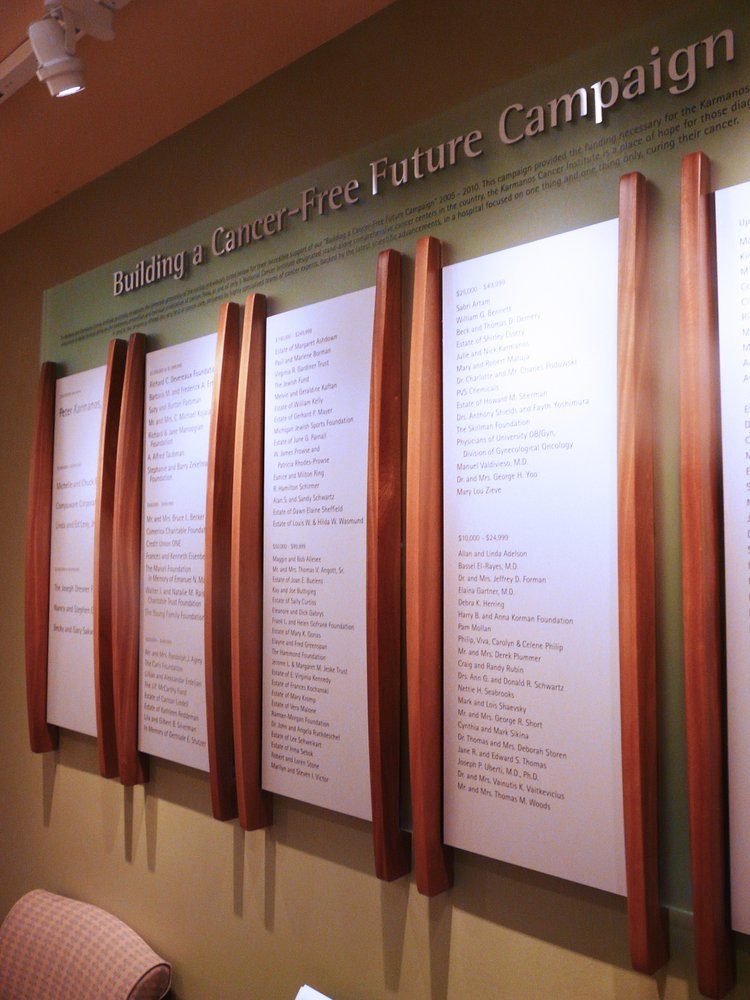 Permanent Campaign Donor Wall: Donor names will not change so they are silk screened on aluminum panels which are set between wood splines. The background material is a high quality frosted acrylic.