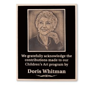 bronze memorial plaques - Cast Photograph Into Bronze Plaque - This plaque can be used as a memorial plaque or a donor recognition plaque. This donor plaque combines a photograph of a person or family with text to honor your donor. This plaque is a great fit in many facilities, museums, theatre, hospitals, non profits, and universities.