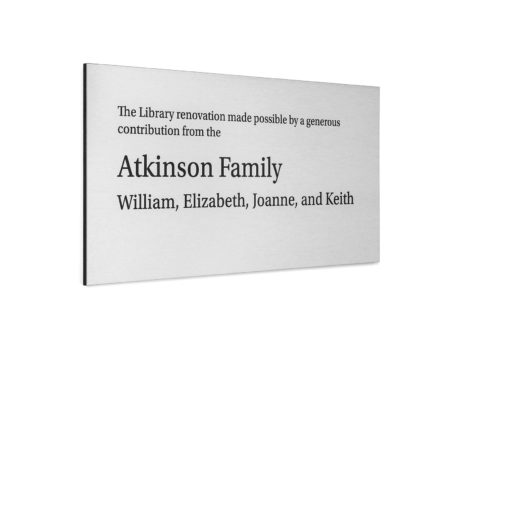 Simple Silver Donor Plaque - Thank your donor by giving them simple quality plaque. Great for museums, hospitals, schools and any other foundations looking to recognize their donors.