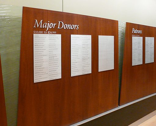 Donor Recognition Levels - St. Mary Mercy Accumulative Donor Wall - This accumulative donor wall includes seven giving levels.