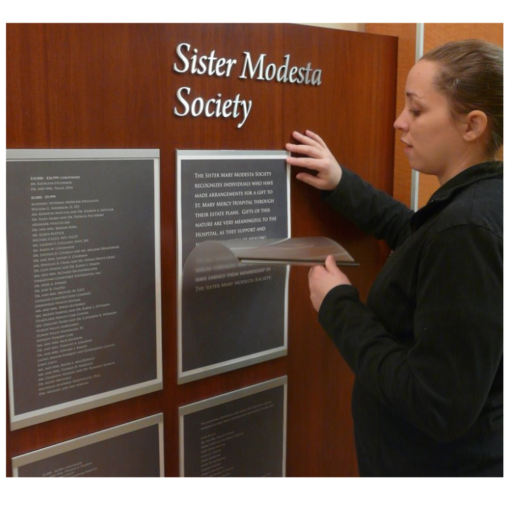 donor walls recognition displays - Simpla frame Donor Wall - When it's time to add new donors, simply pull the top of the frame away from the wall and replace the 11″ x 17″ paper insert.