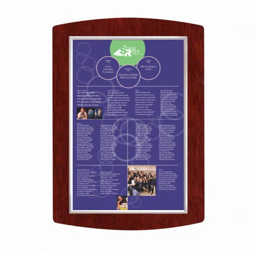 Easy To Update Donor Wall - Wood - Mahogany - The Easy Frame Donor Wall can be customized to your organizations brand and donor names can be added easily and economically.