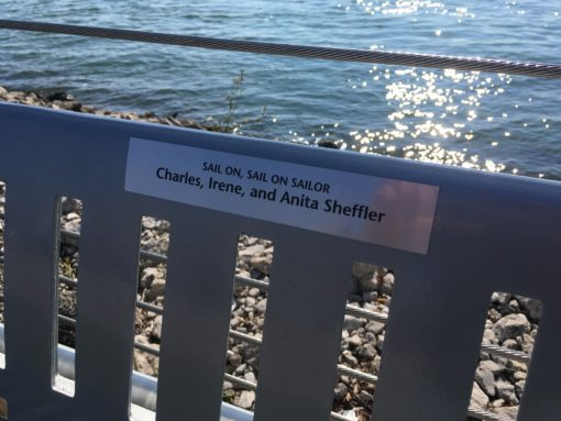 Detroit Riverfront Conservancy: This bench plaque compliments the bench in color and material. Each bench is dedicated to a different donor.