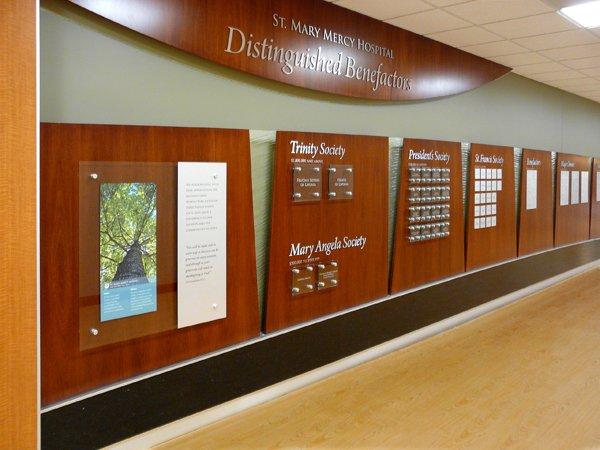 hospital donor wall - wood